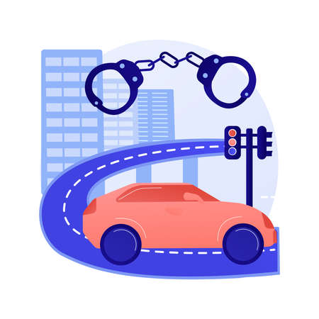 Traffic crime abstract concept vector illustration.