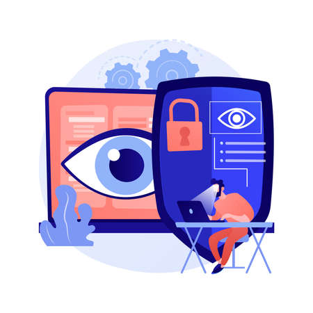 Eye tracking technology abstract concept vector illustration.