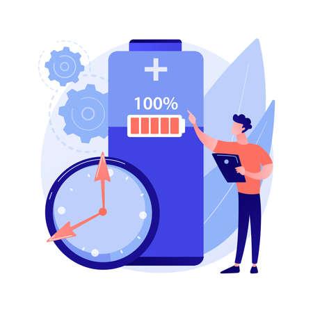 Battery runtime abstract concept vector illustration. Vector Illustratie