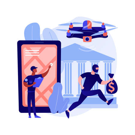 Law enforcement drones abstract concept vector illustration.