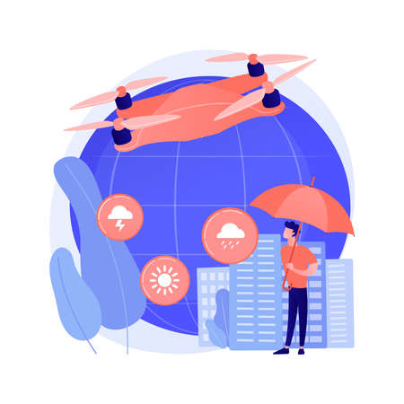 Meteorology drones abstract concept vector illustration.