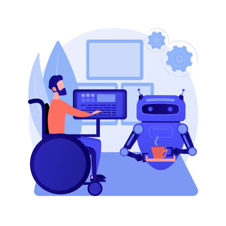 Smart technology for persons with disabilities abstract concept vector illustration.