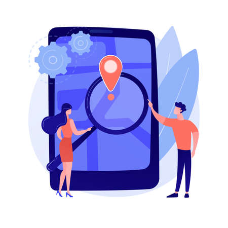 Mobile tracking soft abstract concept vector illustration.