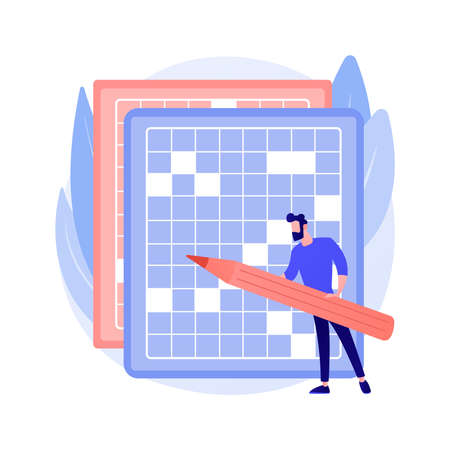Do a crossword and sudoku abstract concept vector illustration. Çizim
