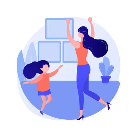 At-home dance class abstract concept vector illustration.