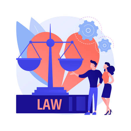 Divorce lawyer service abstract concept vector illustration.