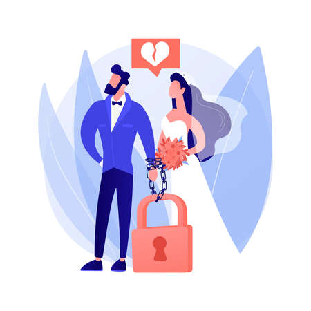 Forced marriage abstract concept vector illustration.