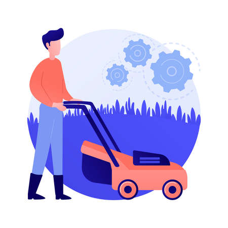 Lawn mowing service abstract concept vector illustration.