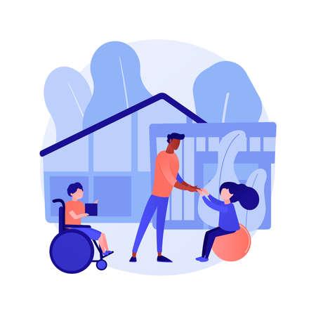Children rehabilitation center abstract concept vector illustration.