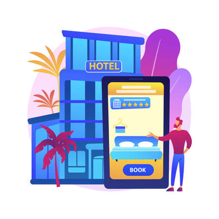 Online booking services abstract concept vector illustration.