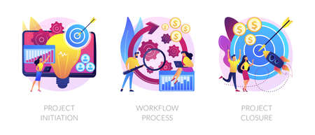 Project implementation abstract concept vector illustrations. Иллюстрация