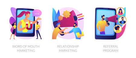 Customer oriented marketing strategy abstract concept vector illustrations.