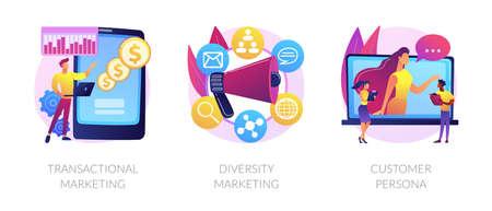 Marketing strategies abstract concept vector illustrations.