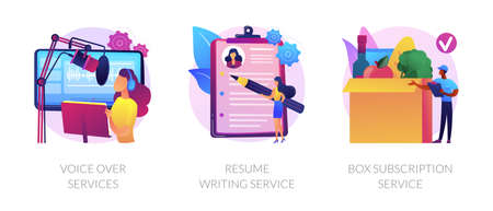 Online based jobs abstract concept vector illustrations. Ilustrace