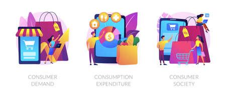 Consumer society abstract concept vector illustrations. Ilustración de vector