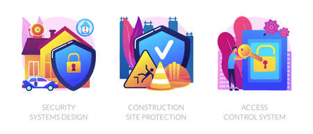 Construction security services abstract concept vector illustrations. Vectores