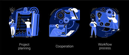 Business process abstract concept vector illustrations.