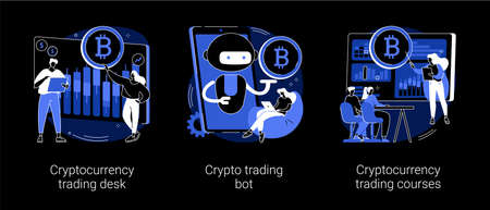 Cryptocurrency market abstract concept vector illustrations.