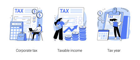 Tax preparation abstract concept vector illustrations. Vecteurs