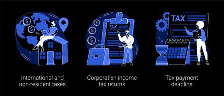 Tax planning and preparation abstract concept vector illustrations.