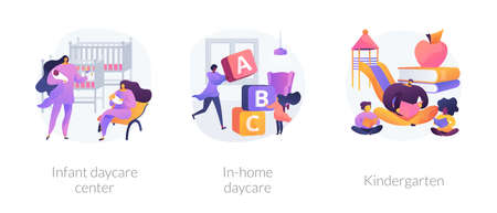 Child care abstract concept vector illustrations.