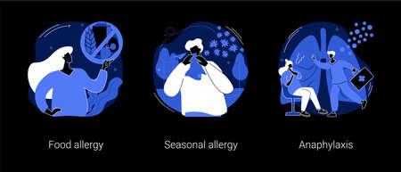 Allergic diseases abstract concept vector illustrations. Ilustração