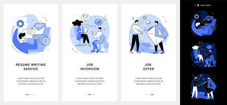 Employment process mobile app UI kit.