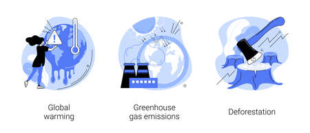 Climate change abstract concept vector illustrations.
