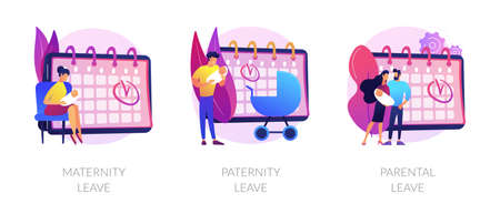 Pregnancy, childbirth and newborn care vacation time vector concept metaphors Vecteurs