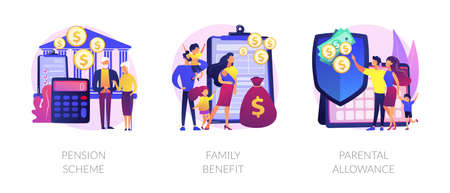 Social security payments abstract concept vector illustrations.