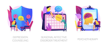 Mental disorder treatment vector concept metaphors. Vettoriali