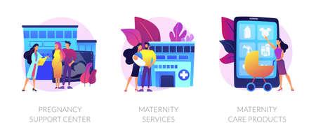 Pregnancy and maternity vector concept metaphors. Vektorové ilustrace