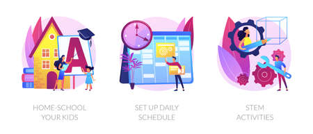 Remote home education abstract concept vector illustrations. Illustration