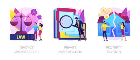 Legal service and investigation abstract concept vector illustrations.