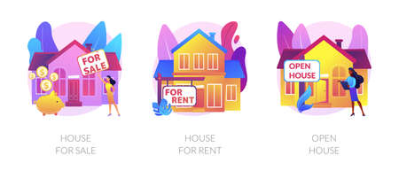 Real estate agent service abstract concept vector illustrations.