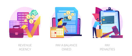 Tax payment stages vector concept metaphors. 向量圖像