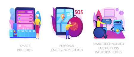 Digital healthcare support abstract concept vector illustrations.