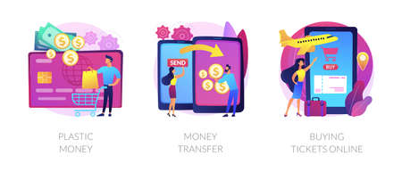 Electronic transactions abstract concept vector illustrations.