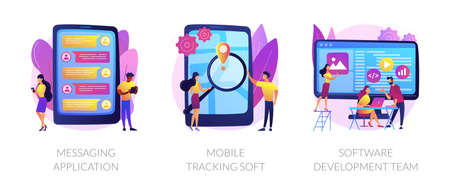 Smartphone application abstract concept vector illustrations.