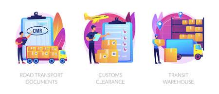 Goods import legal permission abstract concept vector illustrations. Иллюстрация