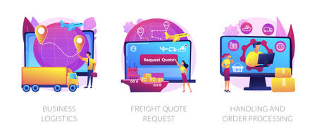 Smart logistics technologies abstract concept vector illustrations.