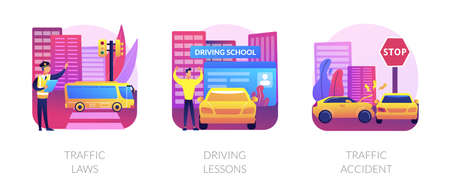 Driving license abstract concept vector illustrations.