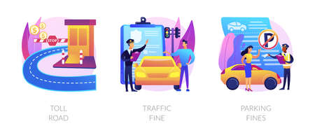 Driving rules violation abstract concept vector illustrations.