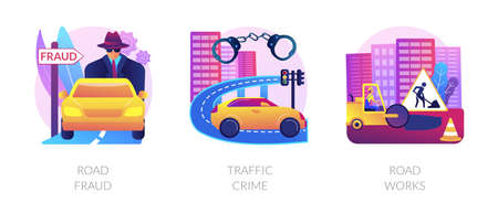 Road safety abstract concept vector illustrations.