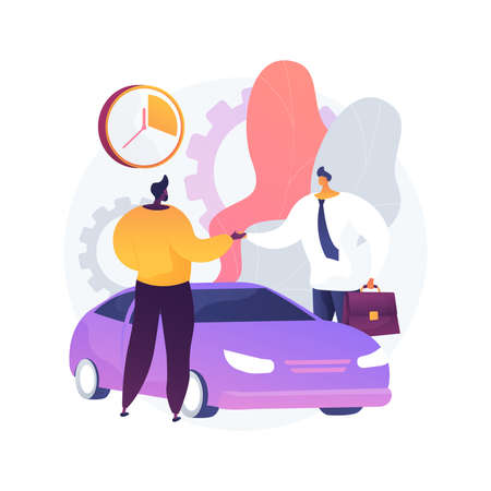 Carsharing service abstract concept vector illustration.