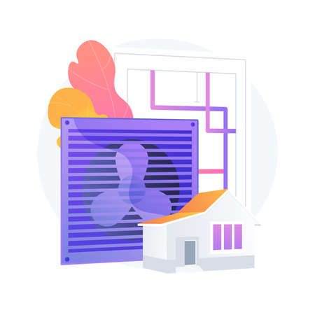 Ventilation system abstract concept vector illustration.