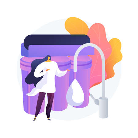Water filtering system abstract concept vector illustration.  イラスト・ベクター素材