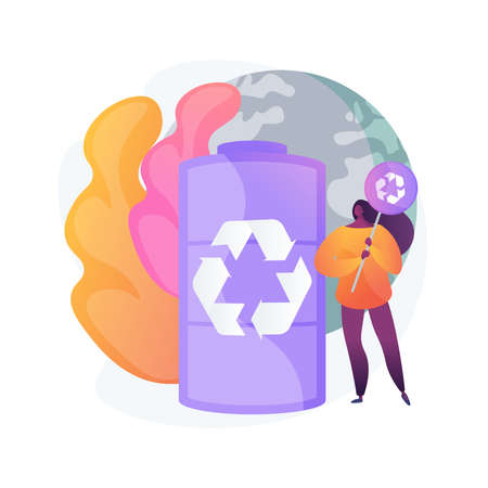 Battery recycling abstract concept vector illustration. 向量圖像