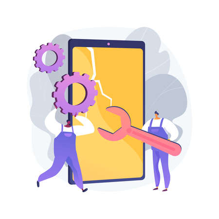Smartphone repair abstract concept vector illustration.
