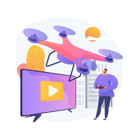 Aerial videography abstract concept vector illustration.